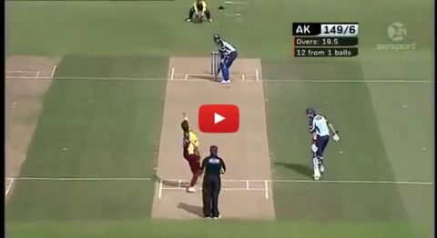 12 runs required 1 ball remaining, gues which team wins
