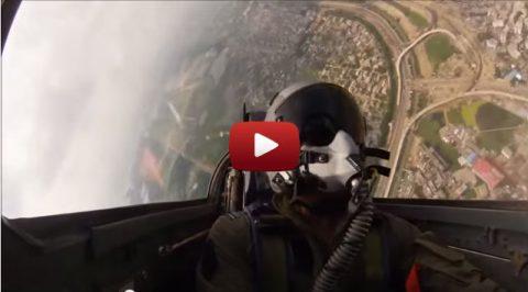 BAF Pilot flying over Dhaka City